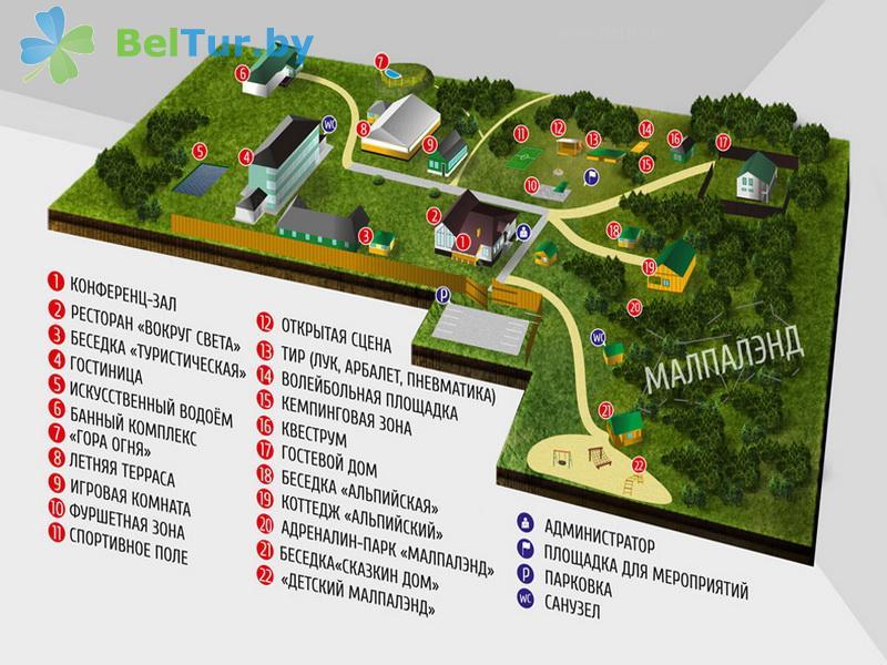 Отдых в Белоруссии Беларуси - база отдыха Загородный клуб Фестивальный - Схема территории