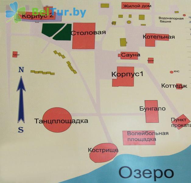 Отдых в Белоруссии Беларуси - база отдыха Лесное озеро - Схема территории