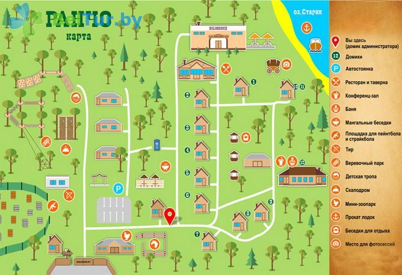 Отдых в Белоруссии Беларуси - гостиничный комплекс Ранчо - Схема территории